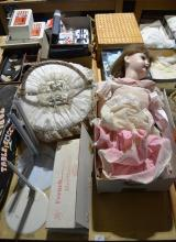Large porcelain doll - AF, cushioned basket and a French walking doll body for the recreation of a walking doll and 3 doll stands