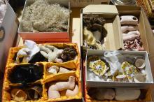 Porcelain doll parts to incl. legs, torso's, heads wigs, etc, plus a miniature tea set
