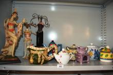Qty of various teapots, 2 lady form jewellery stands, female dancer style figurine