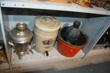 2 large cook pots, outdoor metal lantern, samovar and a ceramic water filter