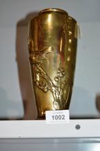 VIntage Japanese brass vase, bird motif, slight AF