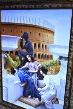 Antique style oil painting on canvas of figures on a balcony overlooking a colosseum, unsigned, image size 105cm x 75cm, ornately framed