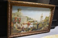 Large oil painting showing a Mediterranean classical harbour scene, on canvas, unsigned, image is 91 x 152cm, ornate gilt timber frame