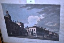 Antique hand coloured etching, 'The Horse Guards', published by T. Malton, 1794, 21 x 29cm