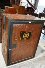 Rare antique Japanese office safe made from Keyaki and Kiri woods, grained effect painted finish, wrought iron fittings incl. side carry handles, single door opens to reveal an arrangement of  various drawers, lovely grain detail, circa 1890's, came from