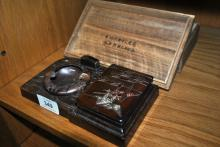 Vintage Japanese smoker's desk stand, with inlaid silver & copper finish to lid, also comes with original wooden box with ink calligraphy to underside of lid