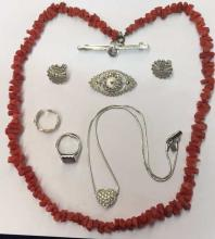 Qty of sterling silver and silver plated jewellery and a coral inspired necklace.