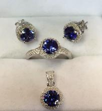 Sterling silver treated Tanzanite and diamond set, to include: earrings, pendant and matching ring