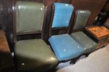 3 Edwardian vinyl upholstered dining chairs AF