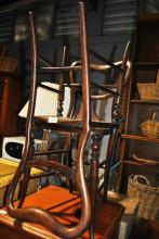 Pair antique timber kitchen chairs in need of recaning