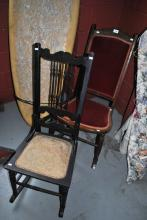 2 vintage chairs incl. 1 x spindle back and the other a rocking chair