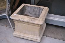 Reconstituted stone square form planter
