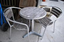 2 items: a 3 piece timber & chrome patio setting & 2 hardwood timber outdoor chairs