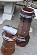 2 x Australian pottery fired chimney pots, 1 x from Fowlers pottery, the other unmarked
