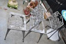 2 Mid-Century metal cast outdoor chairs AF