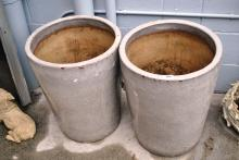 Pair of large cracklet glaze pottery planters, 57cm T
