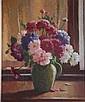 Sir Erik Langker, oil on board 'Flowers at my