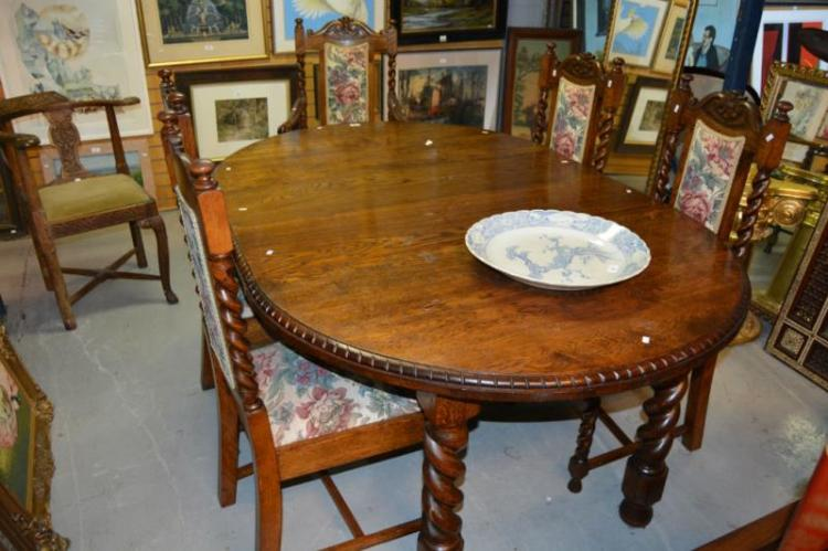 Early 20th century oak extension dining table Home bargains furniture uk