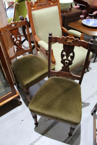 Pair Of Carved Walnut Side Chairs