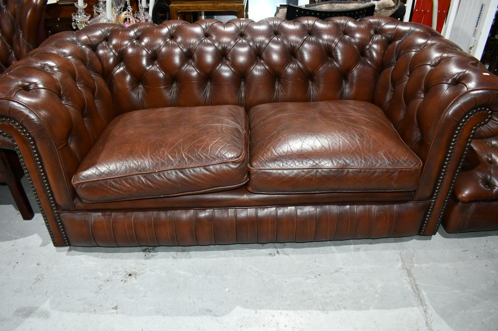 Two seater Chesterfield lounge, 75cm H, 88cm D, 188cm L approx.