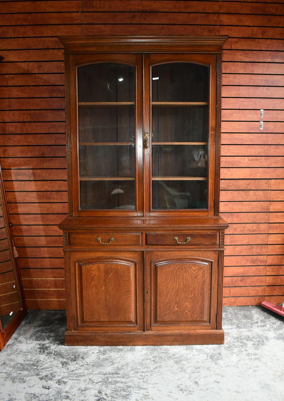 Antique two piece Library bookcase in oak, 123cm W, 50cm D, 230cm H