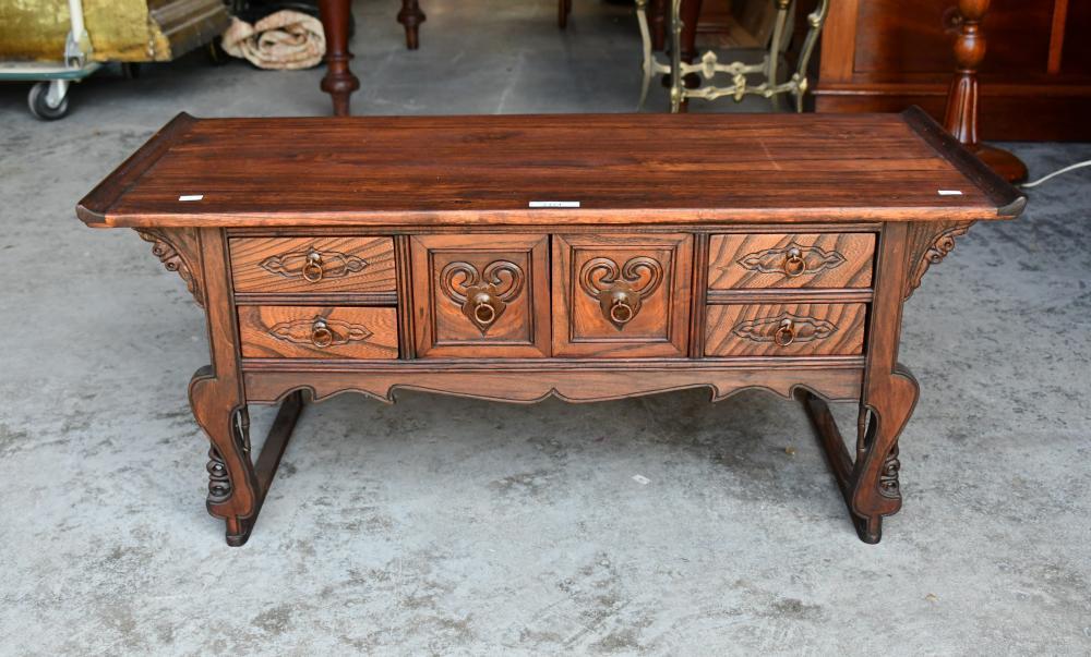 Decorative Korean chest in Elm, 85cm L, 36cm D, 37cm H