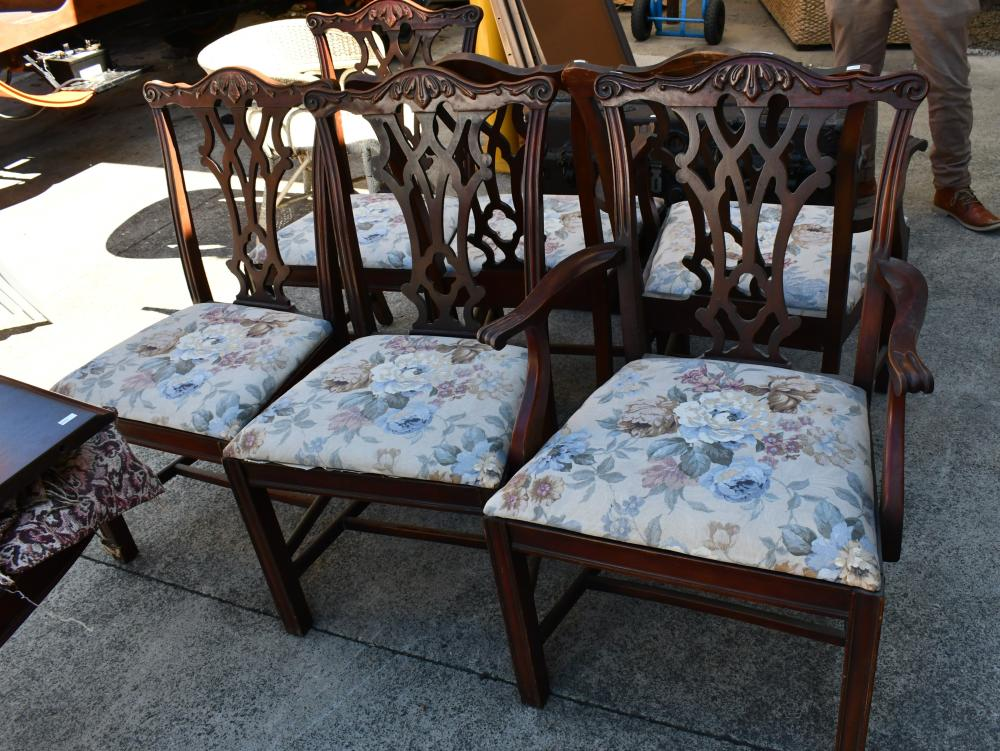 Vintage set of six Chippendale style dining chairs, each chair measures 63cm W x 94cm H