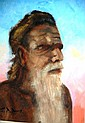 Geoffrey Davis oil on board, Tribal Elder, signed