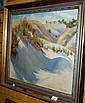 Ronald F Bell oil on board, beach landscape,