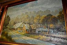B. Morton, oil on board, outback slab building,