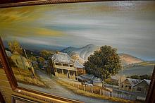 H. Bate, oil on board, an old outback hamlet, slab