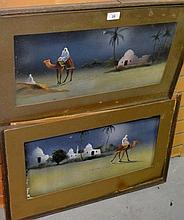 Pair of early paintings on velvet of desert scenes