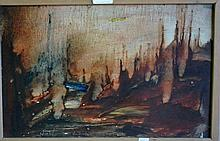 Pro Hart, oil wash on masonite, landscape scene,