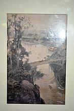 Antique hand tinted wood engraving after Schell,