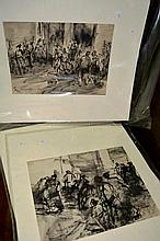 A. Mari, 3 early ink wash studies, European scenes