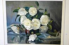 Gwen Pratt oil on canvas board, 'White camellias'