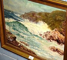 Artist unknown oil on board coastal seascape with