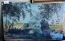 E.M. Grigg oil on board 'Pond scene with ducks',