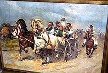 Janos Viski (Hungary) oil on canvas, scene of