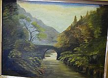 Early oil painting on board of a country bridge