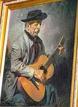 Moraudo Lugue? oil on canvas board, old man with