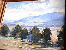 Robert Johnson oil on board 'The artists camp,