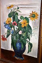 Ernst Fritsch oil on canvas, still life of flowers