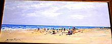 Donald Fraser oil on board, 'Impressionist beach