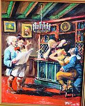 Zoltan Fenyes oil on board, untitled, (Bawdy bar