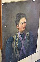 L. Rach oil on canvas, portrait of a woman with a