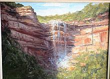John Emmett oil on board, 'Falls near Medlow Bath,
