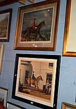2 large Alfred Munnings prints, 1 is portrait of