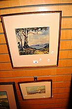 2 x watercolour paintings, 1 of a gum tree & lake