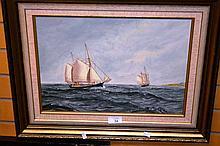 J.G. McCredie oil on board of the Tasmanian ketch